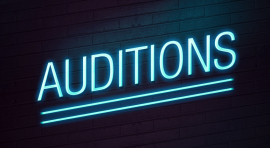 Audition neon sign on wall